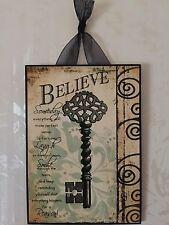 """8"""" X 10"""" Believe Plaque Wall Decor French Key"""