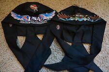 New Authentic Harley Davidson Do Rag Skull Cap Bandana Hat Black Lot of 2 Styles