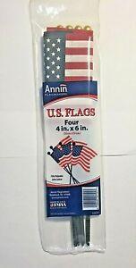 "Annin US American Flag Handheld Garden Stakes 10"" Tall USA 4 per bag New"