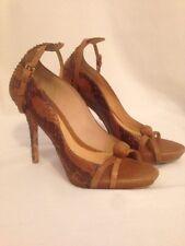 L.A.M.B. FELIX SNAKESKIN Brown Heels Size 7.5 Women's Retail $395