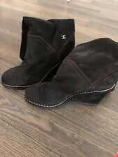 Chanel Boots 8.5 38.5 Suede Brown