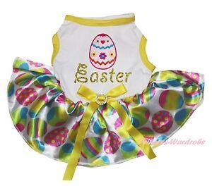 EGG Easter White Cotton Top Rainbow Egg Gauze Skirt Pet Dog Puppy Cat Dress Bow