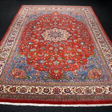Orient Teppich Rot 306 x 220 cm Perserteppich Beige Blau Handgeknüpft Red Carpet