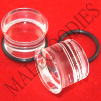 "V135 Clear Acrylic Single Flare Solid Ear Plugs 14G to 1-1/4"" 2.5mm to 32mm"