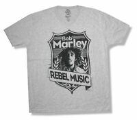 Bob Marley Shield Mens Grey T Shirt New Official Adult Reggae Rasta Rebel Music