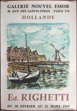 Affiche Exposition ED. RIGHETTI HOLLANDE Galerie Nouvel Essor 1964 *