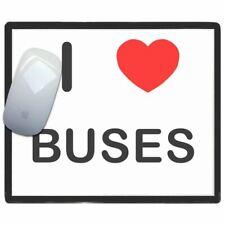 I Love Corazón Buses ' - Fino Pictoral Plástico Ratón Libreta Tapete BadgeBeast