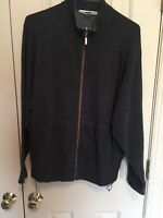 TOMMY BAHAMA Mens FULL ZIP Black Gray Reversible Jacket 100% Cotton Size Large L