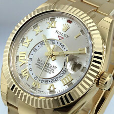 ROLEX 326938 SKY DWELLER 42 mm 18K YELLOW GOLD SILVER OYSTER ANNUAL CALENDAR