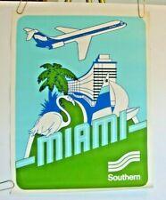 "SOUTHERN AIRWAYS ORIGINAL POSTER  ""Miami""  1970's VINTAGE TRAVEL  DELTA"