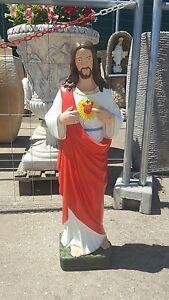 Statua SACRO cuore di Gesù  GESU' CEMENTO PIETRA MARMO ALTEZZA  H 80 CM ESTERNO