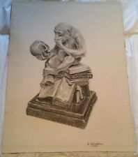 Mid Century 1958 Art Graphite Pencil Drawing - Signed DARWIN MONKEY SKULL