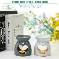 1SET HEART CERAMIC OIL BURNER MELTS WAX CANDLE TART TEA LIGHT AROMA LAMP NEW UK