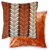 """Willow Leaves Velvet Cushion Cover Double Sided 17"""" Seat Pad Cover Orange Cream"""