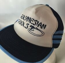 Vintage Three Stripe Hat Cap Polynesian Pools Snapback Spellout Foam Made In USA