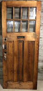 Antique Craftsman Exterior Stained Wood French Entry Door /w 8 Pane Glass 33x80