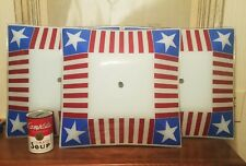 3 KENNEDY ERA red white blue us flag bedroom ceiling light cover glass globe art