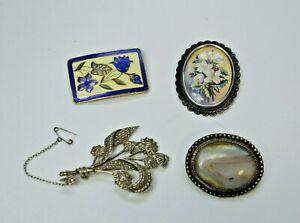 Vintage brooch bundle - Fish & Crown Cloisonne enamel, TLM floral and others