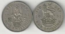 2 OLDER 1 SHILLING COINS from GREAT BRITAIN - BOTH DATING 1951 (2 TYPES)