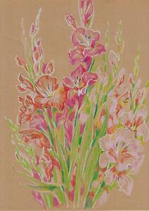 original drawing A3 290YL art samovar modern pastel female flowers gladiolus