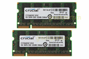 Crucial 4GB 2X2GB 2RX8 DDR2 667mhz PC2-5300 RAM Memory For Apple Macbook Pro