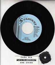 "JAY & THE AMERICANS Cara Mia & She Cried 7"" 45 record + juke box title strip NEW"