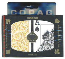 "COPAG ""1546"" BLACK & GOLD PLASTIC PLAYING CARDS 2 POKER DECKS JUMBO INDEX *"