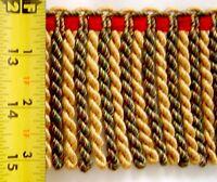"3"" Bullion Fringe Cranberry Red Yellow Gold Olive Green Match Tassel Fringe"