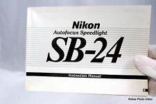 Nikon Appareil Photo Autofocus Speedlite SB-24 Flash Manuel Guide Véritable (En
