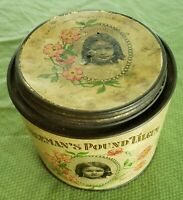 Antique Freeman's Talcum Powder Tin - Advertising Tin - circa 1906 free shipping