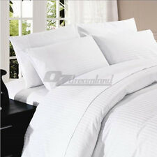 400tc 100 Cotton Sateen White 1cm Stripe Fitted Sheet King Single