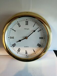 Vintage wellington quartz Nautical Ships/barge Bulkhead Brass Effect wall Clock