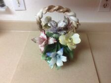 """Vintage CAPODIMONTE Porcelain Centerpiece Basket And Flowers 11"""" Tall X 11"""" Wide"""