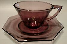 *SIX SETS* of PURPLE​ AMETHYST Hazel ATLAS GLASS OCTAGON Tea Cups and Saucers