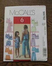 McCall's 4762 Sewing Pattern UC Girls Top Skort Shorts Capri 6 Designs Size 3-6