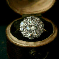 1.50 Ct Round Cut Diamond Flower Cluster Engagement Ring 14K Yellow Gold Over