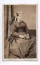 PHOTO ANCIENNE CDV Femme Coiffure Mode F. Chevalier Paris Fauteuil Vers 1870