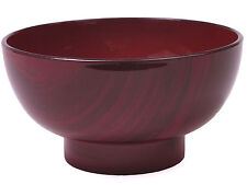 "2 PCS. Japanese 4.5""D Lacquer Miso Soup Rice Bowl Red Wood Grains, Made in Japan"