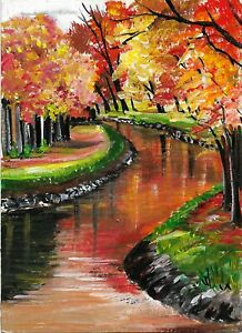 ACEO Original Painting Art Card Acrylic Landscape  100% Hand Painted