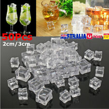 50pcs Fake Acrylic Ice Cubes Artificial Wedding Party Photography Display Clear