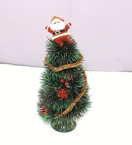 """Christmas Tree Vintage Plastic 12"""" Santa on top Decorated Kitch Weighted base OS"""