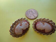"""Vtg STAINING Signed """"HOBE """" Shell Cameo Women Earrings Gold Plated  50.0 gr. #97"""