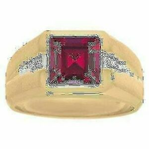 Natural Ruby Ring in Solid 925 Sterling Silver Stylish Gold Plated Men's Jewelry