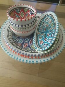 Turkish Hand Made Ceramic Pottery 10 Piece dinner set