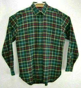 Tommy Hilfiger Men's Shirt M Green Plaid Long Sleeve Button Front Cotton Pocket