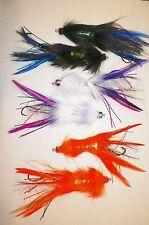 """6) 4 3/4"""" SILVEY'S SQUID FLIES-(3) COLORS-Barbless Stinger Hooks-2per color"""