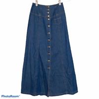 Together Long Denim Jean Skirt Button Front Lace Up Back Modest Boho Size 4