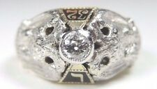 Antique 32 Degree Masonic Ring Platinum 14K Yellow Gold Size 8.5 UK-Q1/2 EGL USA