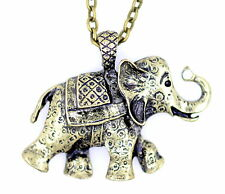 Vintage Art Deco Retro Estilo Bronce Elefante encanto collar