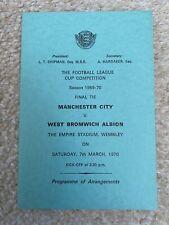 More details for man city v west brom league cup final 1970 programme of arrangements excellent